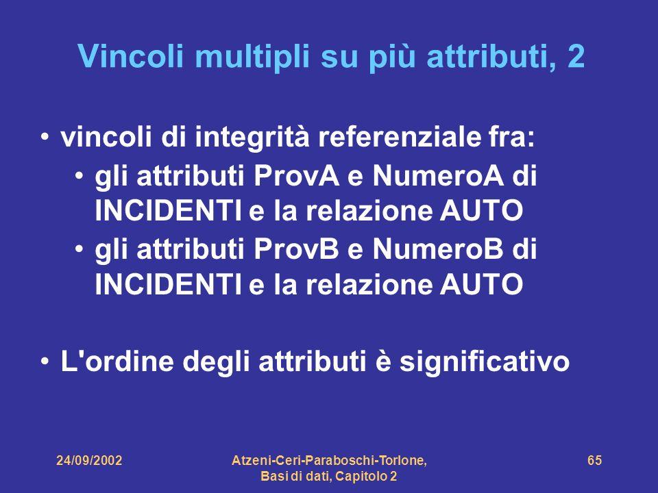 24/09/2002Atzeni-Ceri-Paraboschi-Torlone, Basi di dati, Capitolo 2 65 Vincoli multipli su più attributi, 2 vincoli di integrità referenziale fra: gli