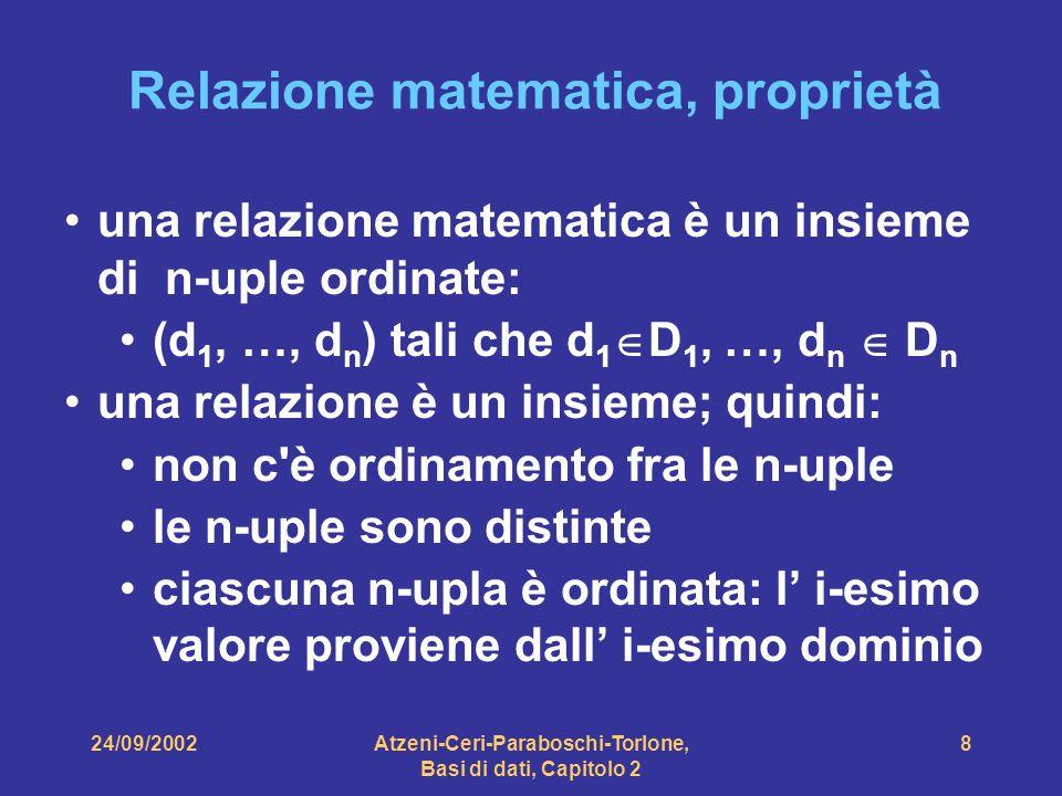 24/09/2002Atzeni-Ceri-Paraboschi-Torlone, Basi di dati, Capitolo 2 8 Relazione matematica, proprietà una relazione matematica è un insieme di n-uple o