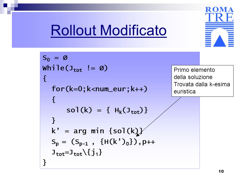 10 Rollout Modificato S 0 = Ø While(J tot != Ø) { for(k=0;k<num_eur;k++) { sol(k) = { H k (J tot )} } k = arg min {sol(k)} S p = (S p-1, {H(k) 0 }),p+
