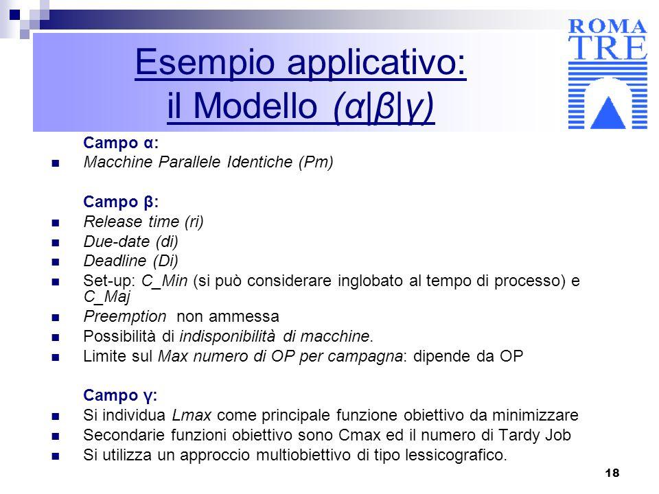 18 Esempio applicativo: il Modello (α|β|γ) Campo α: Macchine Parallele Identiche (Pm) Campo β: Release time (ri) Due-date (di) Deadline (Di) Set-up: C
