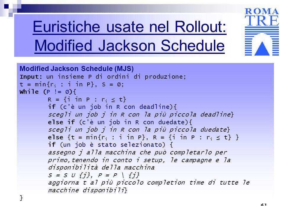 21 Euristiche usate nel Rollout: Modified Jackson Schedule Modified Jackson Schedule (MJS) Input: un insieme P di ordini di produzione; t = min{r i :