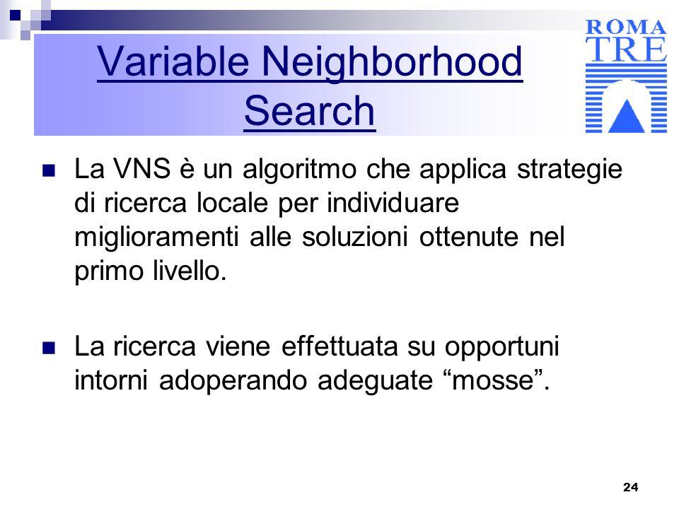 24 Variable Neighborhood Search La VNS è un algoritmo che applica strategie di ricerca locale per individuare miglioramenti alle soluzioni ottenute ne
