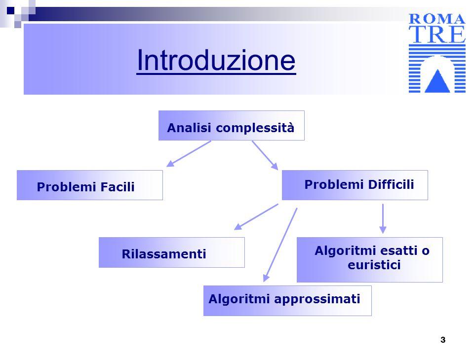 3 Introduzione Analisi complessità Problemi Facili Problemi Difficili Rilassamenti Algoritmi esatti o euristici Algoritmi approssimati