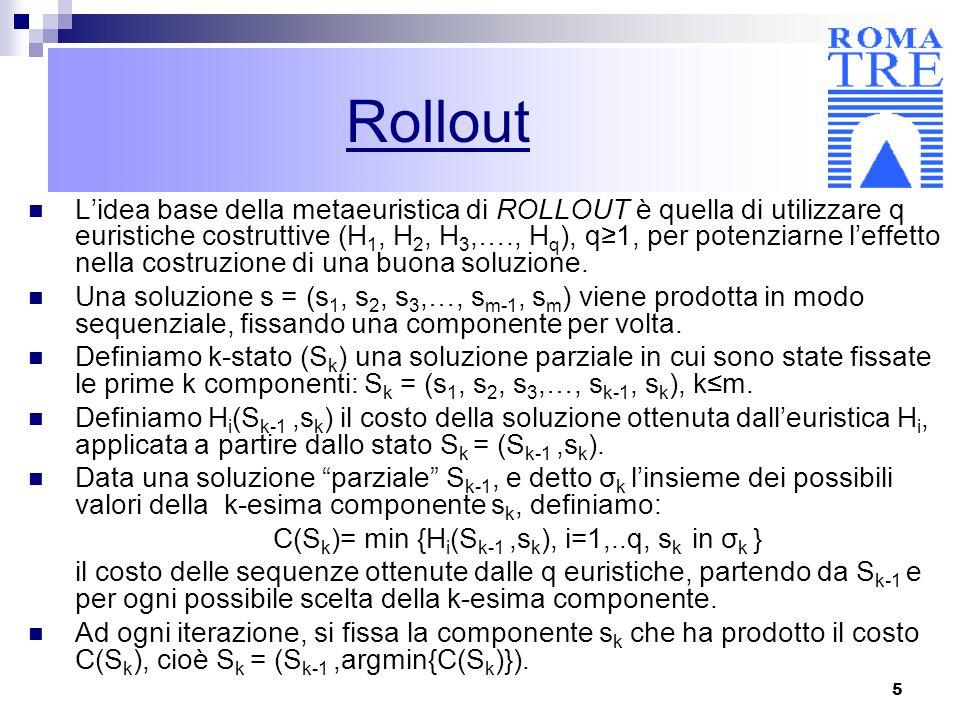 5 Lidea base della metaeuristica di ROLLOUT è quella di utilizzare q euristiche costruttive (H 1, H 2, H 3,…., H q ), q1, per potenziarne leffetto nel