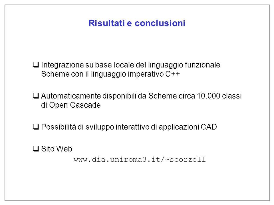 Risultati e conclusioni Integrazione su base locale del linguaggio funzionale Scheme con il linguaggio imperativo C++ Automaticamente disponibili da Scheme circa 10.000 classi di Open Cascade Possibilità di sviluppo interattivo di applicazioni CAD Sito Web www.dia.uniroma3.it/~scorzell