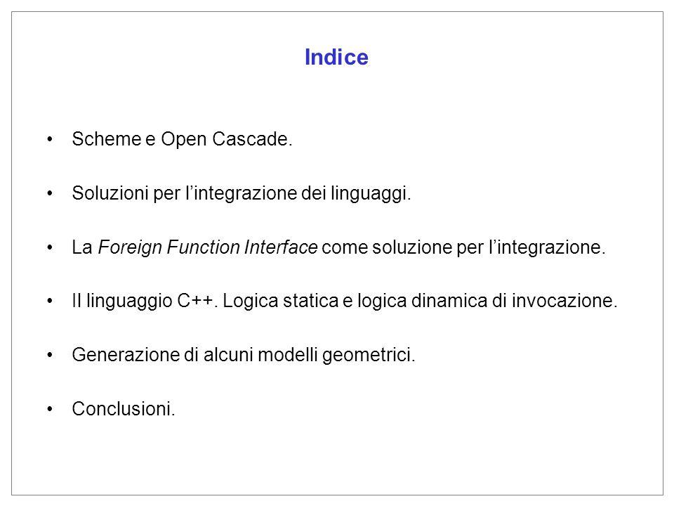 Indice Scheme e Open Cascade. Soluzioni per lintegrazione dei linguaggi.
