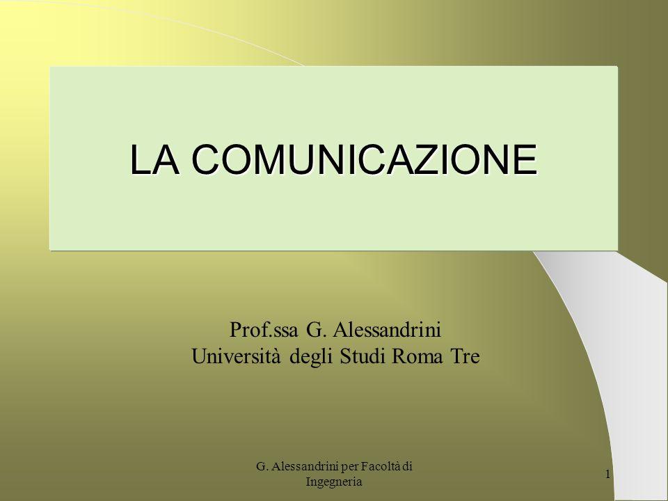 G.Alessandrini per Facoltà di Ingegneria 1 LA COMUNICAZIONE Prof.ssa G.