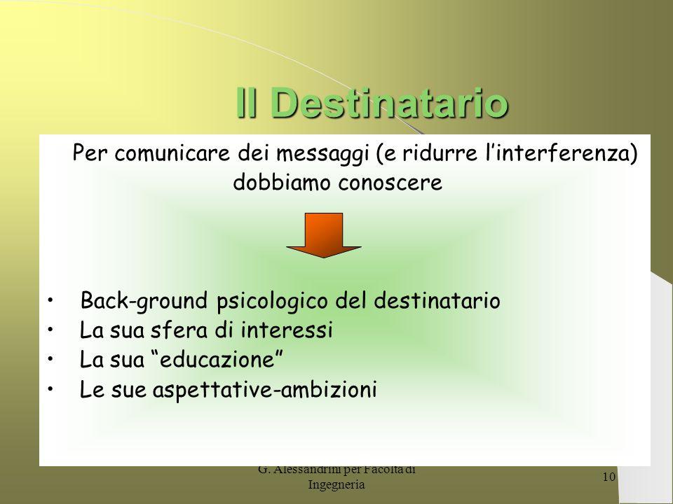 G. Alessandrini per Facoltà di Ingegneria 9 Comunicare Comunicare Trasmettere chi comunica è una fonte di trasmissione Veicolo di trasmissione è il me