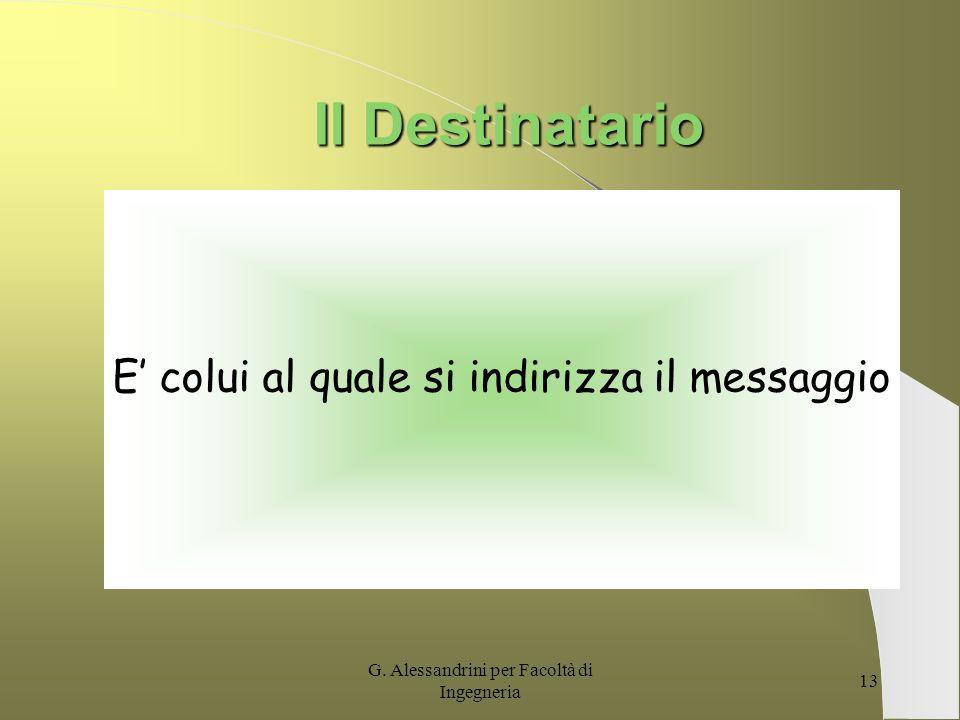 G. Alessandrini per Facoltà di Ingegneria 12 Il Destinatario Tuttavia bisogna concedere al destinatario il tempo di assimilare il messaggio e di reagi