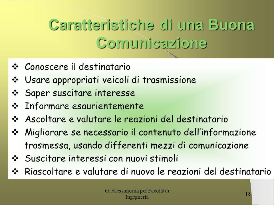 G. Alessandrini per Facoltà di Ingegneria 17 Messaggio Questa comunicazione è diretta a determinare non solo sensazioni, ma concetti, ragionamenti e c