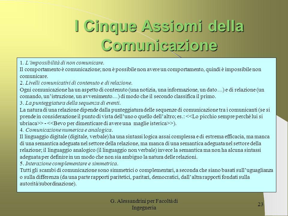 G. Alessandrini per Facoltà di Ingegneria 22 I Cinque assiomi della Comunicazione Palo Alto – Watzlawick Ci troviamo in presenza di un processo di Com