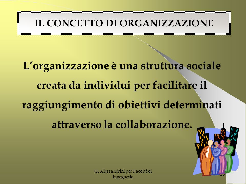 G. Alessandrini per Facoltà di Ingegneria 24 SECONDO MODULO LA COMUNICAZIONE ORGANIZZATIVA