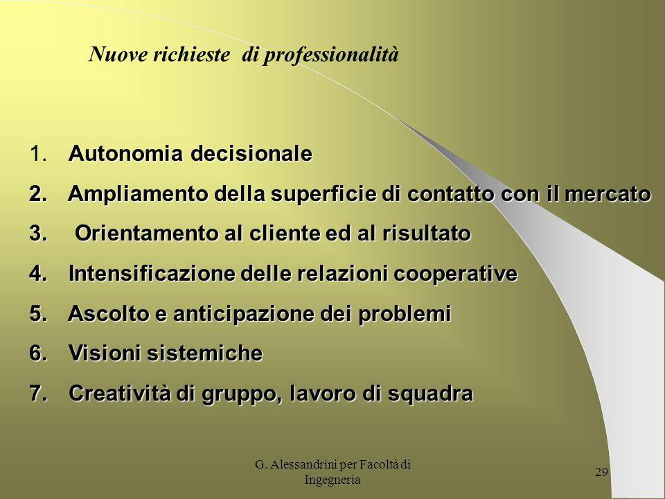 G. Alessandrini per Facoltà di Ingegneria 28 MODELLI ORGANIZZATIVI TRADIZIONALI ED EMERGENTI A CONFRONTO Specializzazione gerarchico- funzionale (stru
