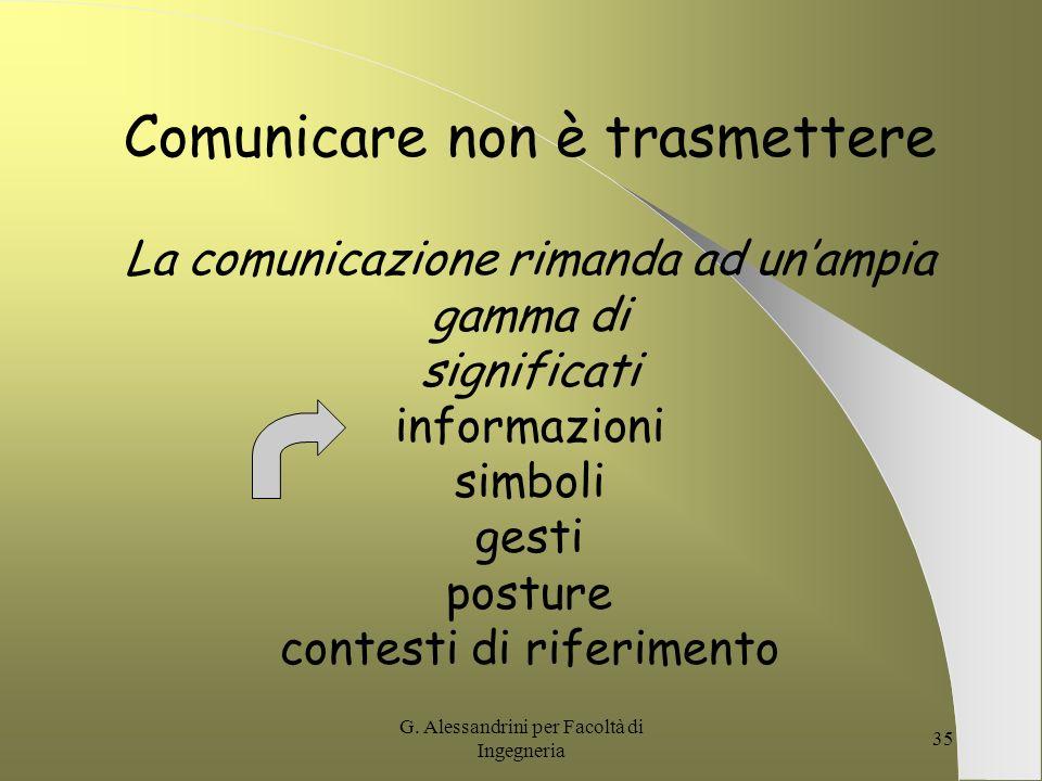 G. Alessandrini per Facoltà di Ingegneria 34 non La non comunicazione è negativa comunicazione negativa