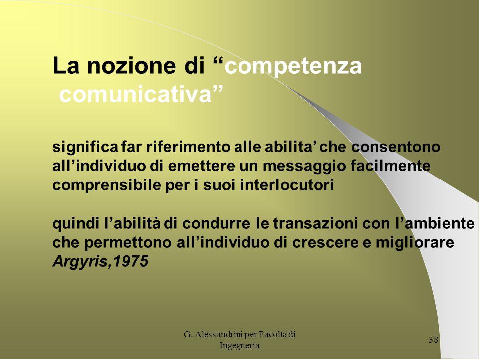 G. Alessandrini per Facoltà di Ingegneria 37 Linsieme dei processi di creazione di messaggi ed informazioni allinterno delle diverse reti di relazioni