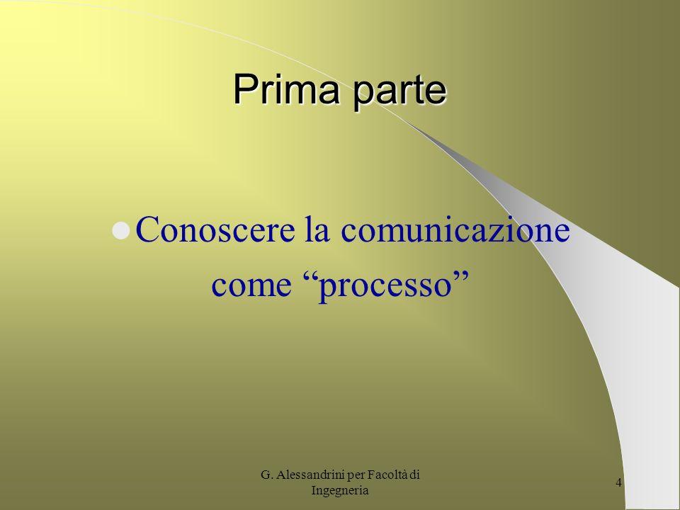 G. Alessandrini per Facoltà di Ingegneria 3 Obiettivi del corso - Acquisizione degli elementi base della comunicazione nella società Complessa. - Cost