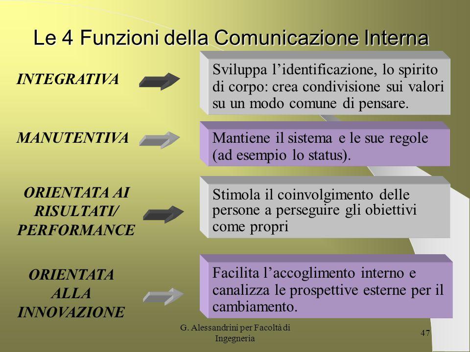 G. Alessandrini per Facoltà di Ingegneria 46 La comunicazione Interna Nella nostra accezione il termine comunicazione interna diventa il governo della