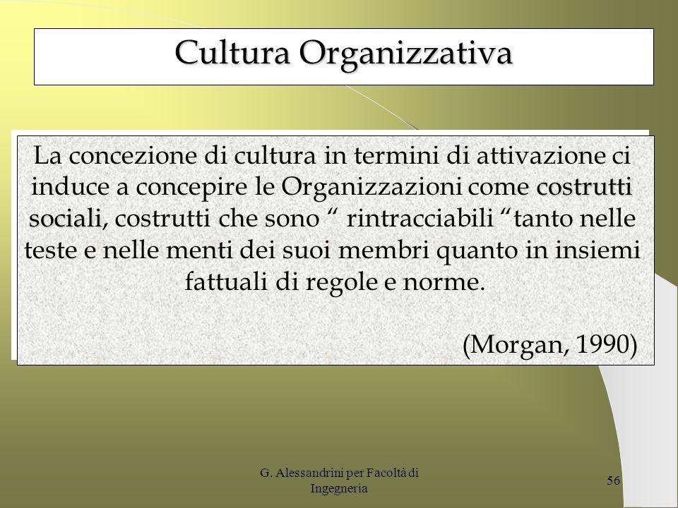 G. Alessandrini per Facoltà di Ingegneria 55 La cultura ha il potere di stabilire un canale di comunicazione tra i membri di un gruppo