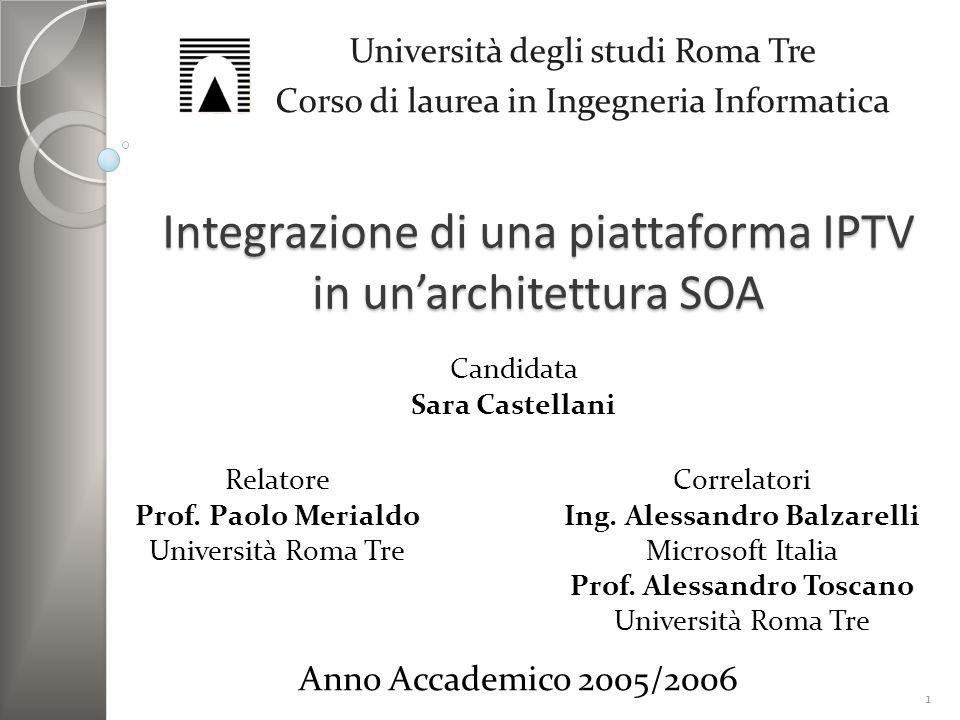 Integrazione di una piattaforma IPTV in unarchitettura SOA Università degli studi Roma Tre Corso di laurea in Ingegneria Informatica Candidata Sara Ca