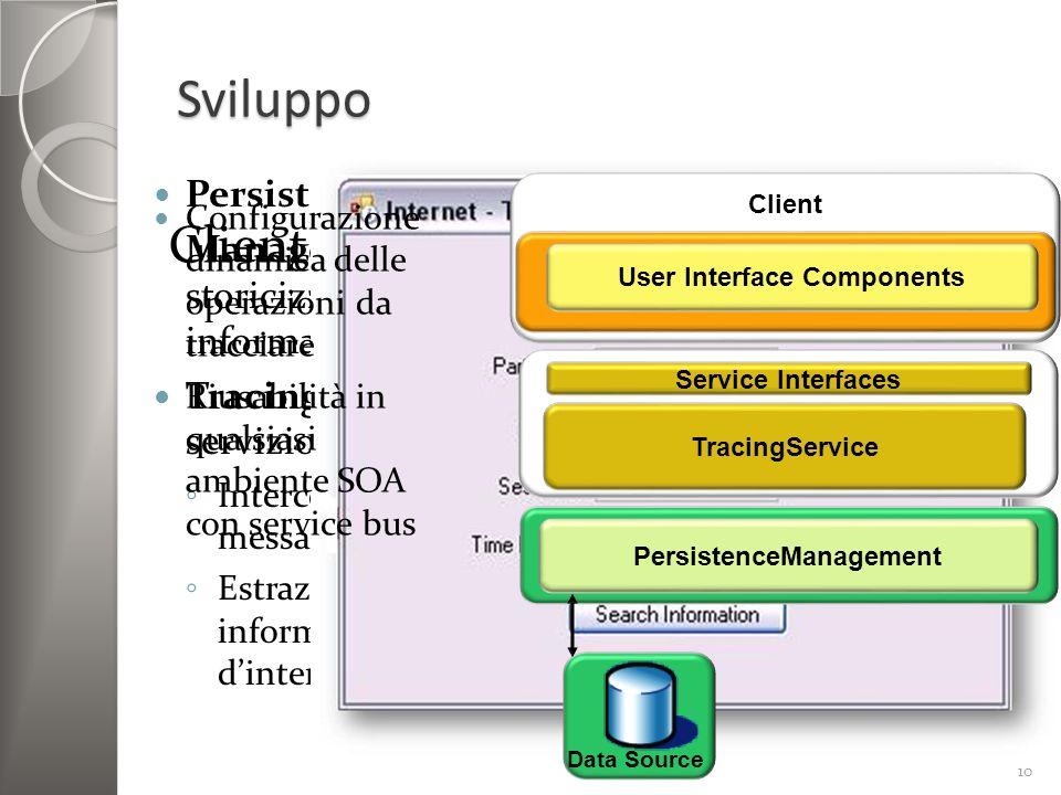 Sviluppo Persistence Management: storicizzazione informazioni TracingService: servizio CSF Intercettazione messaggi Estrazione informazioni dinteresse