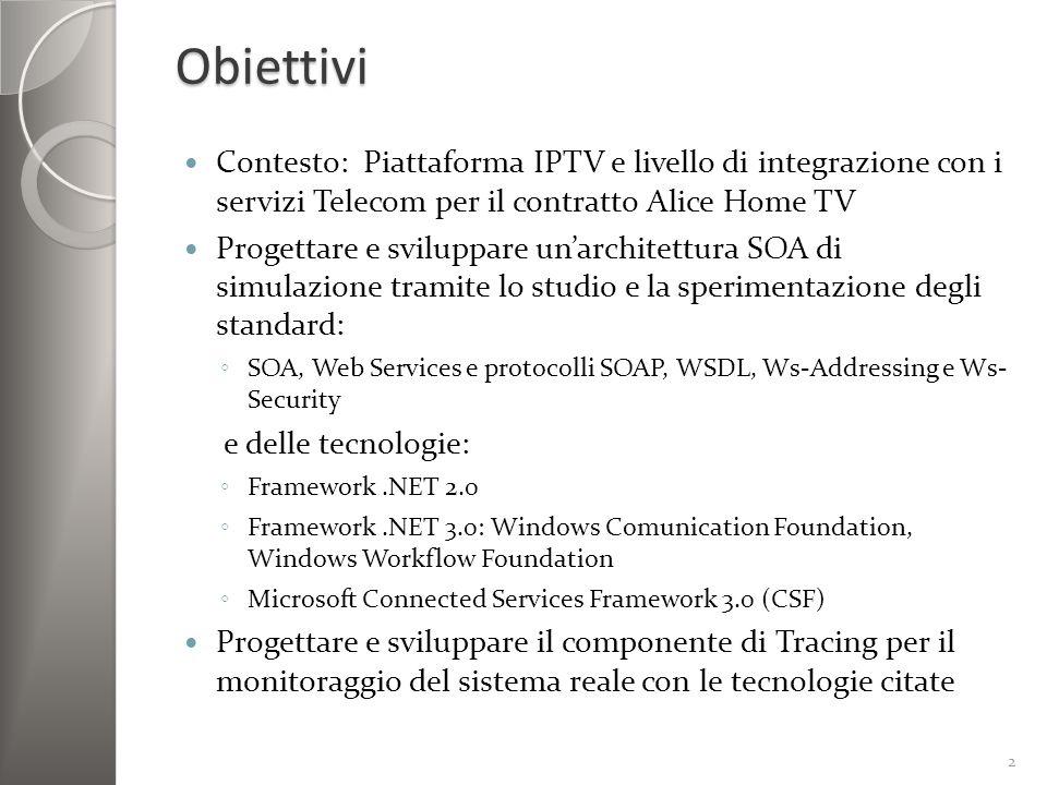 IPTV e sottoservizi Triple-play: Internet, televisione e telefono su ununica rete IPTV: servizi video distribuiti su rete IP tramite il STB (Set-up-box) Live TV VoD(Video on Demand) Pay-per-view Applicazioni Vantaggi: interattività e integrazione tra servizi 3