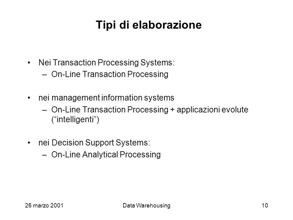 26 marzo 2001Data Warehousing10 Tipi di elaborazione Nei Transaction Processing Systems: –On-Line Transaction Processing nei management information sy