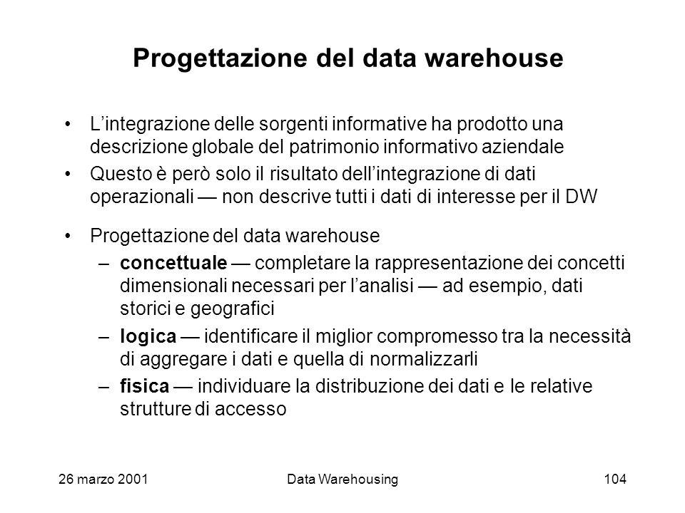 26 marzo 2001Data Warehousing104 Progettazione del data warehouse Lintegrazione delle sorgenti informative ha prodotto una descrizione globale del pat