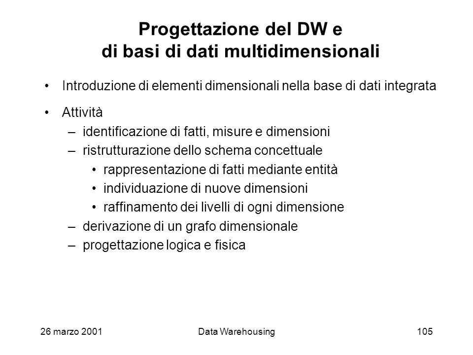 26 marzo 2001Data Warehousing105 Progettazione del DW e di basi di dati multidimensionali Introduzione di elementi dimensionali nella base di dati int