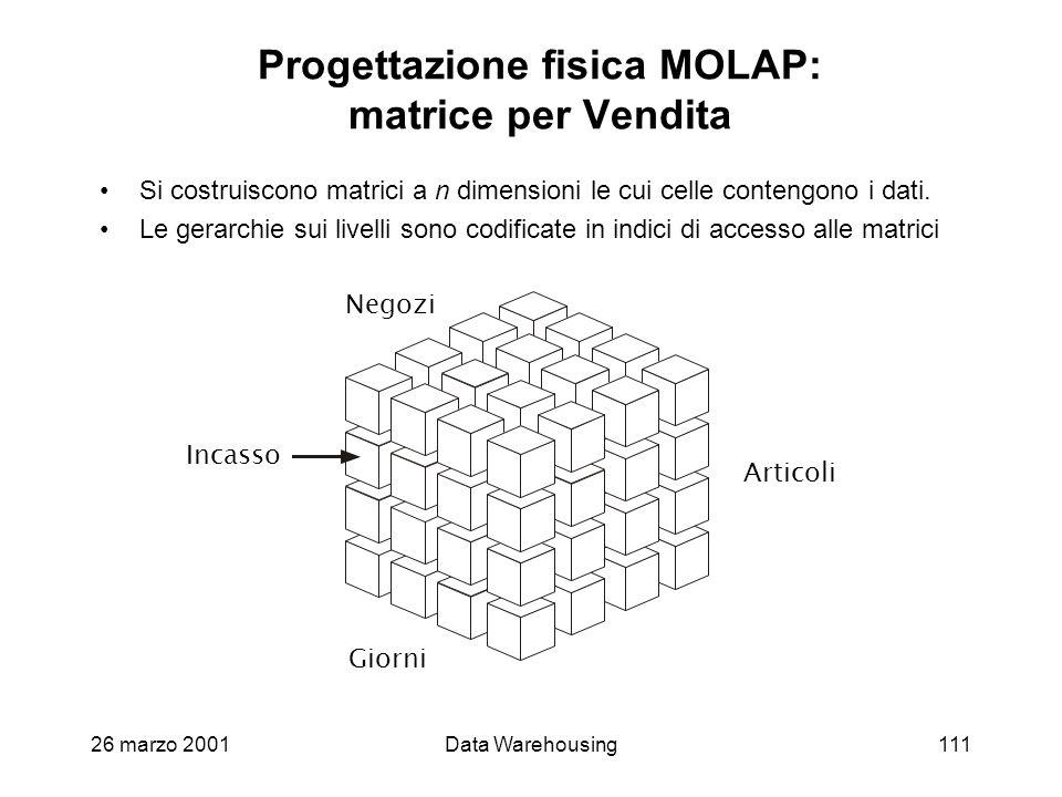 26 marzo 2001Data Warehousing111 Progettazione fisica MOLAP: matrice per Vendita Si costruiscono matrici a n dimensioni le cui celle contengono i dati