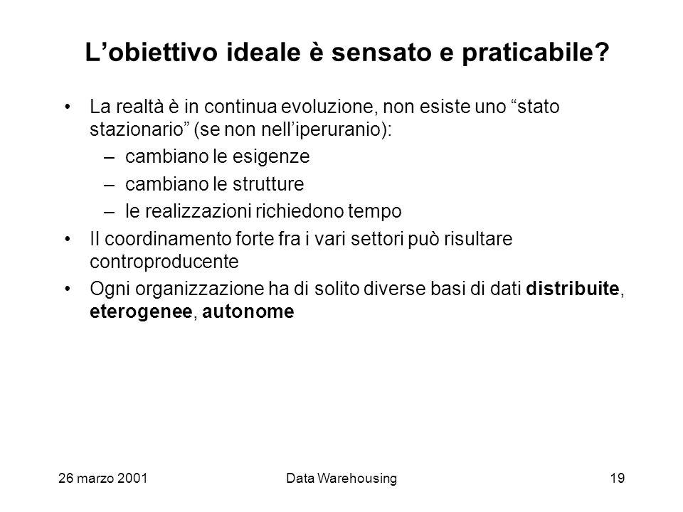 26 marzo 2001Data Warehousing19 Lobiettivo ideale è sensato e praticabile? La realtà è in continua evoluzione, non esiste uno stato stazionario (se no