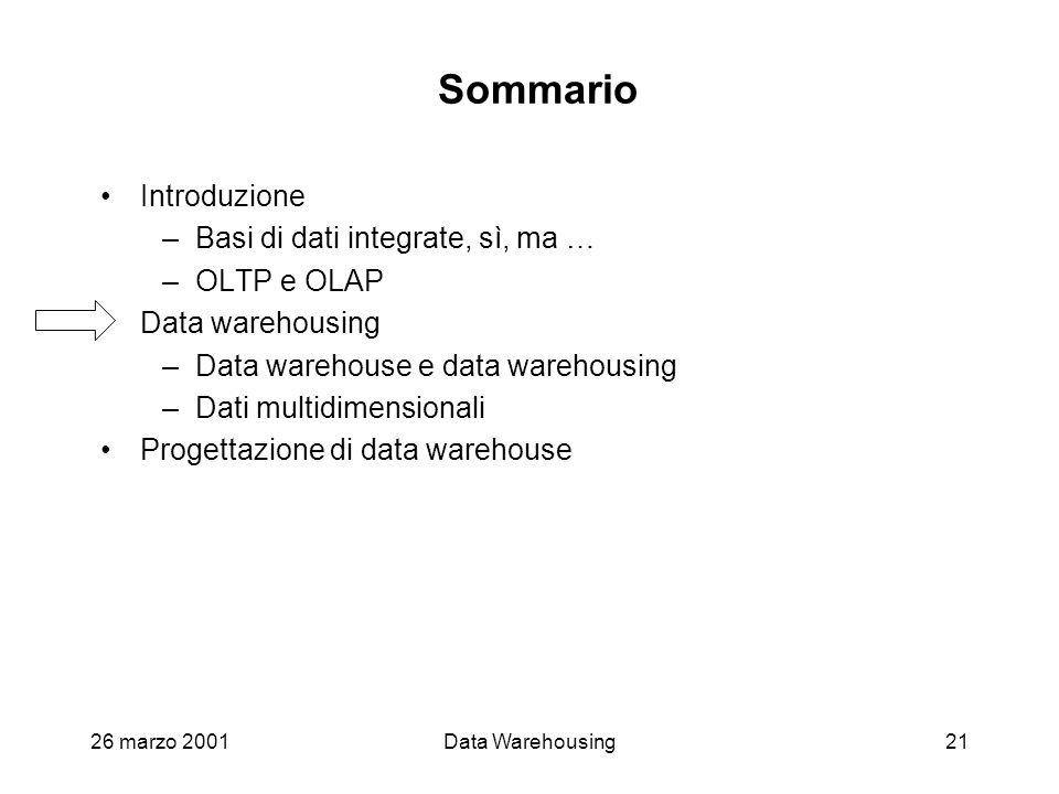 26 marzo 2001Data Warehousing21 Sommario Introduzione –Basi di dati integrate, sì, ma … –OLTP e OLAP Data warehousing –Data warehouse e data warehousi