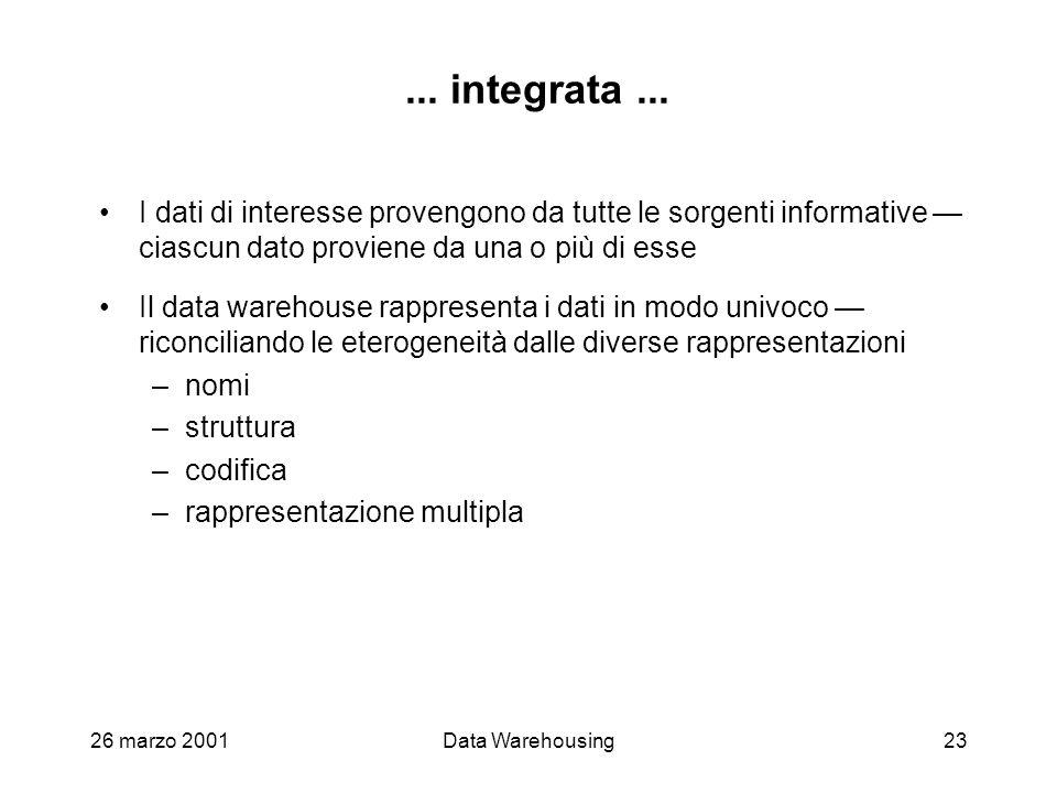 26 marzo 2001Data Warehousing23... integrata... I dati di interesse provengono da tutte le sorgenti informative ciascun dato proviene da una o più di