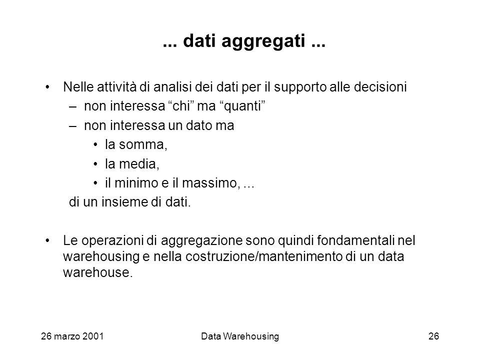 26 marzo 2001Data Warehousing26... dati aggregati... Nelle attività di analisi dei dati per il supporto alle decisioni –non interessa chi ma quanti –n