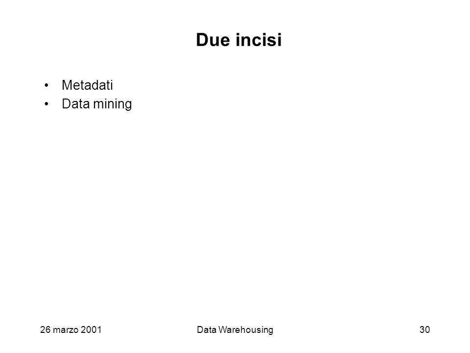 26 marzo 2001Data Warehousing30 Due incisi Metadati Data mining