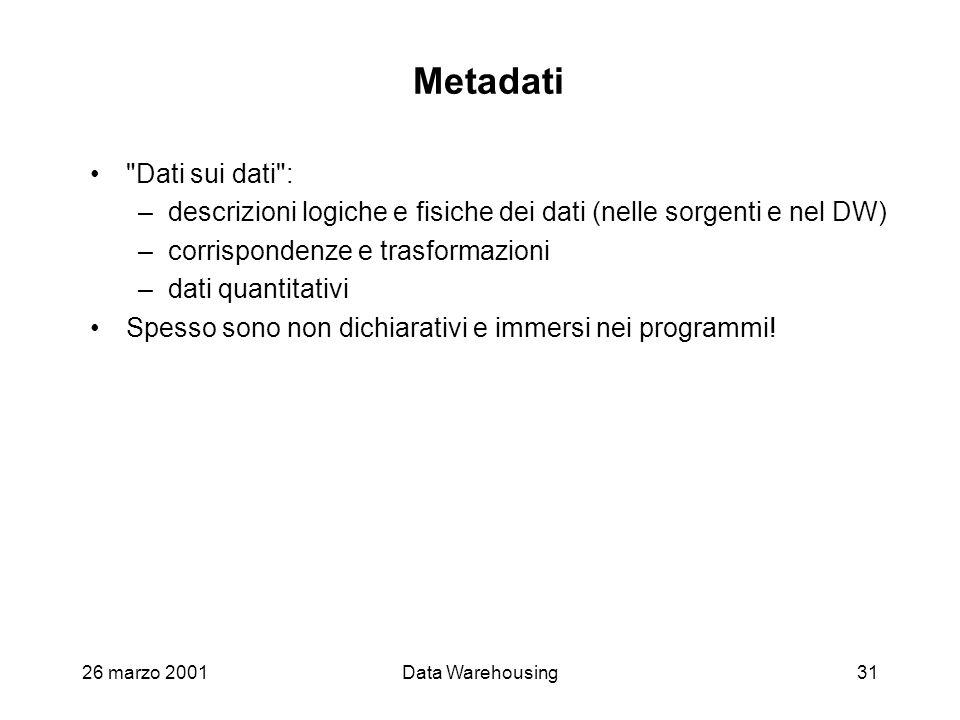 26 marzo 2001Data Warehousing31 Metadati