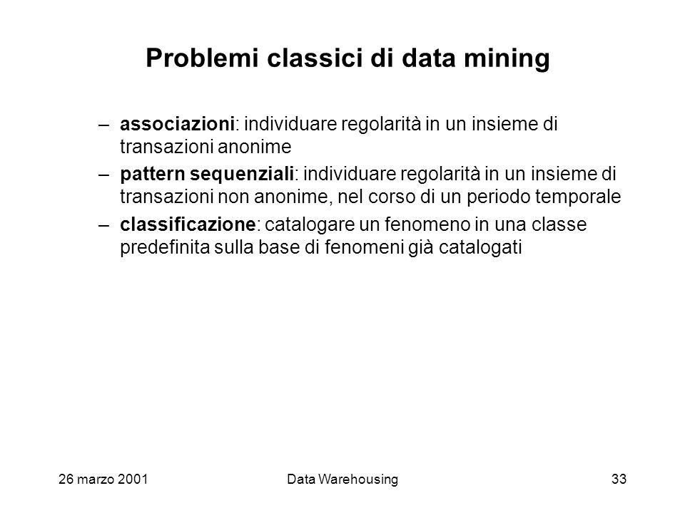 26 marzo 2001Data Warehousing33 Problemi classici di data mining –associazioni: individuare regolarità in un insieme di transazioni anonime –pattern s