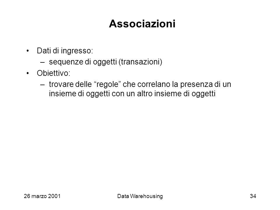 26 marzo 2001Data Warehousing34 Associazioni Dati di ingresso: –sequenze di oggetti (transazioni) Obiettivo: –trovare delle regole che correlano la pr