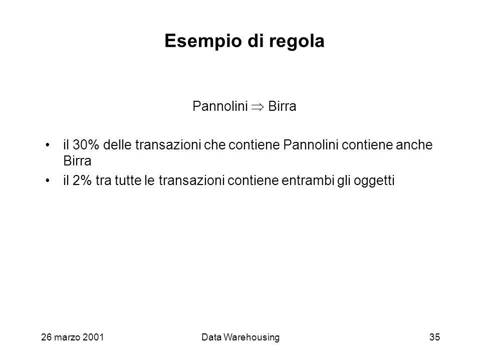 26 marzo 2001Data Warehousing35 Esempio di regola Pannolini Birra il 30% delle transazioni che contiene Pannolini contiene anche Birra il 2% tra tutte
