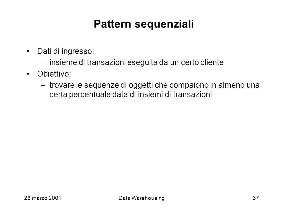 26 marzo 2001Data Warehousing37 Pattern sequenziali Dati di ingresso: –insieme di transazioni eseguita da un certo cliente Obiettivo: –trovare le sequ