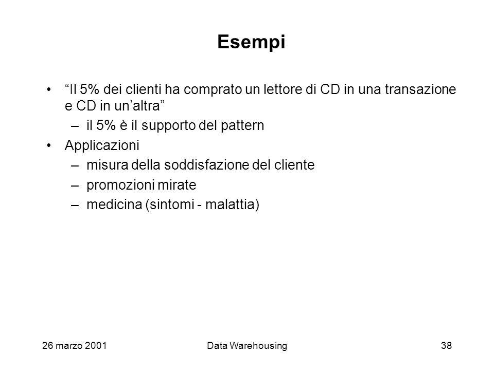 26 marzo 2001Data Warehousing38 Esempi Il 5% dei clienti ha comprato un lettore di CD in una transazione e CD in unaltra –il 5% è il supporto del patt