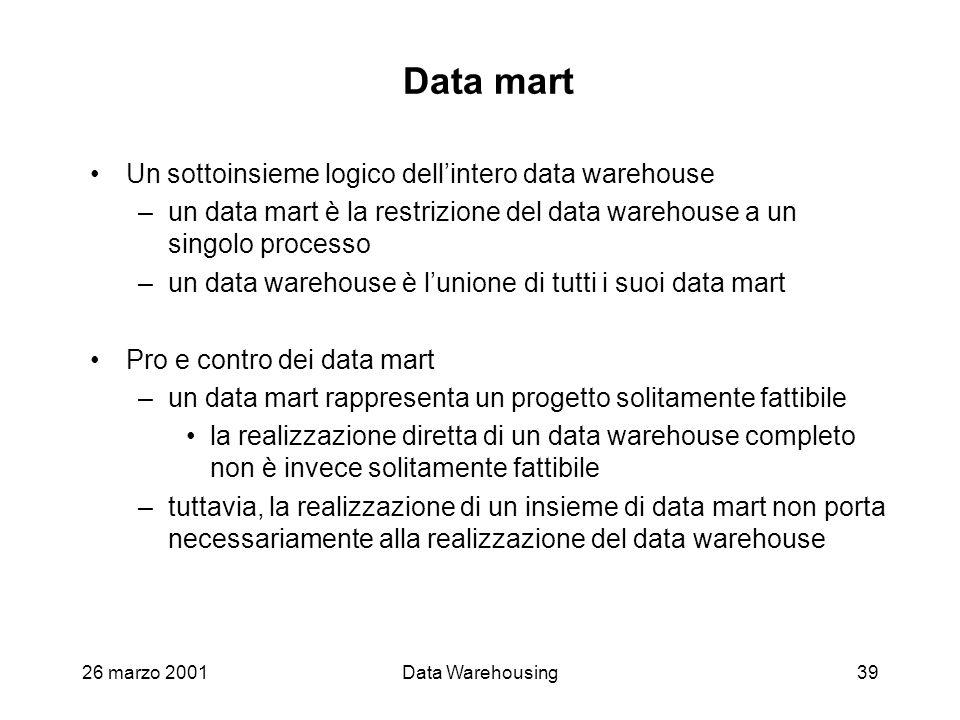 26 marzo 2001Data Warehousing39 Data mart Un sottoinsieme logico dellintero data warehouse –un data mart è la restrizione del data warehouse a un sing