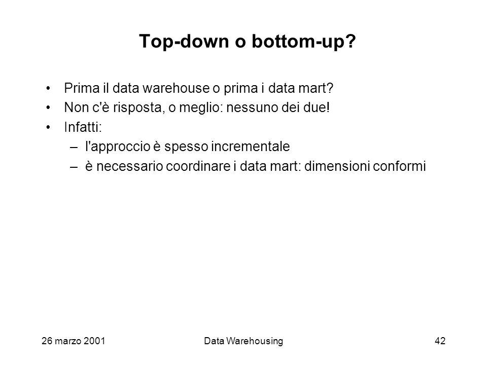 26 marzo 2001Data Warehousing42 Top-down o bottom-up? Prima il data warehouse o prima i data mart? Non c'è risposta, o meglio: nessuno dei due! Infatt