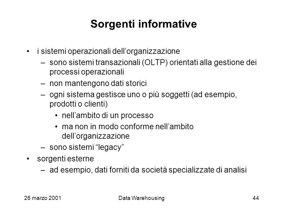 26 marzo 2001Data Warehousing44 Sorgenti informative i sistemi operazionali dellorganizzazione –sono sistemi transazionali (OLTP) orientati alla gesti