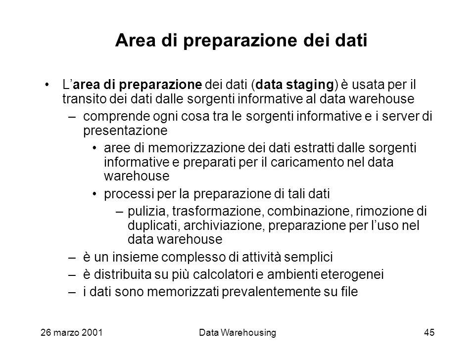 26 marzo 2001Data Warehousing45 Area di preparazione dei dati Larea di preparazione dei dati (data staging) è usata per il transito dei dati dalle sor