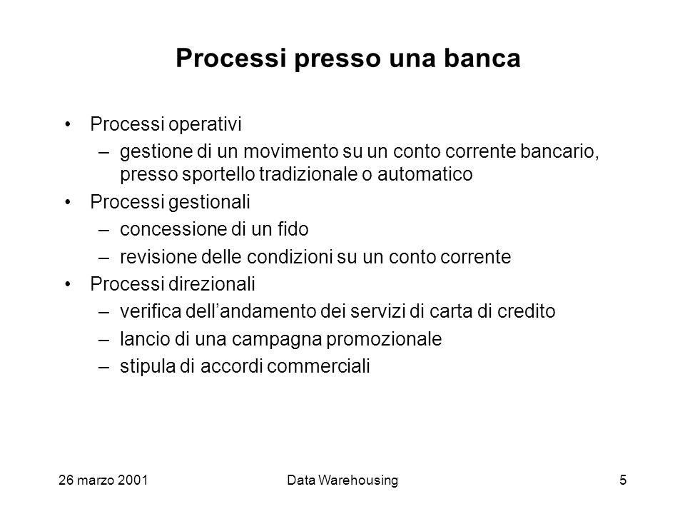 26 marzo 2001Data Warehousing5 Processi presso una banca Processi operativi –gestione di un movimento su un conto corrente bancario, presso sportello