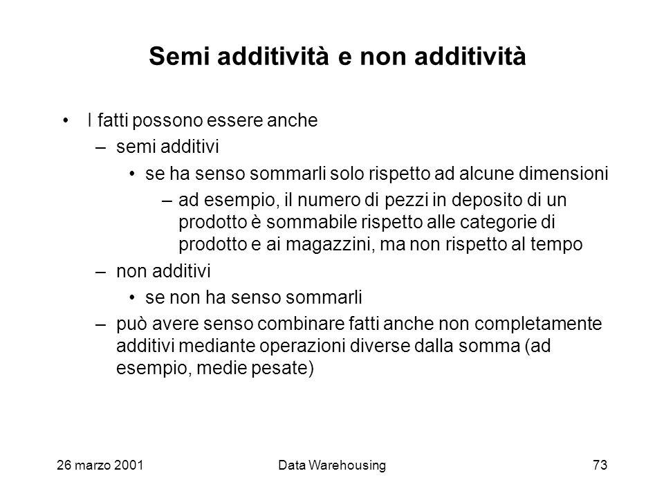 26 marzo 2001Data Warehousing73 Semi additività e non additività I fatti possono essere anche –semi additivi se ha senso sommarli solo rispetto ad alc