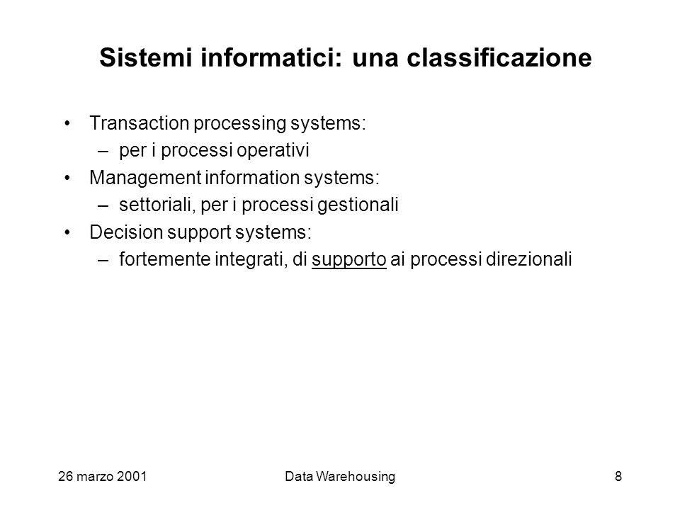 26 marzo 2001Data Warehousing8 Sistemi informatici: una classificazione Transaction processing systems: –per i processi operativi Management informati