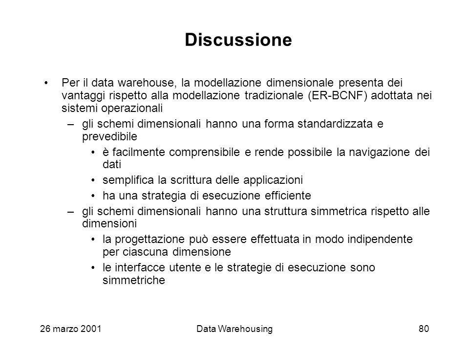 26 marzo 2001Data Warehousing80 Discussione Per il data warehouse, la modellazione dimensionale presenta dei vantaggi rispetto alla modellazione tradi