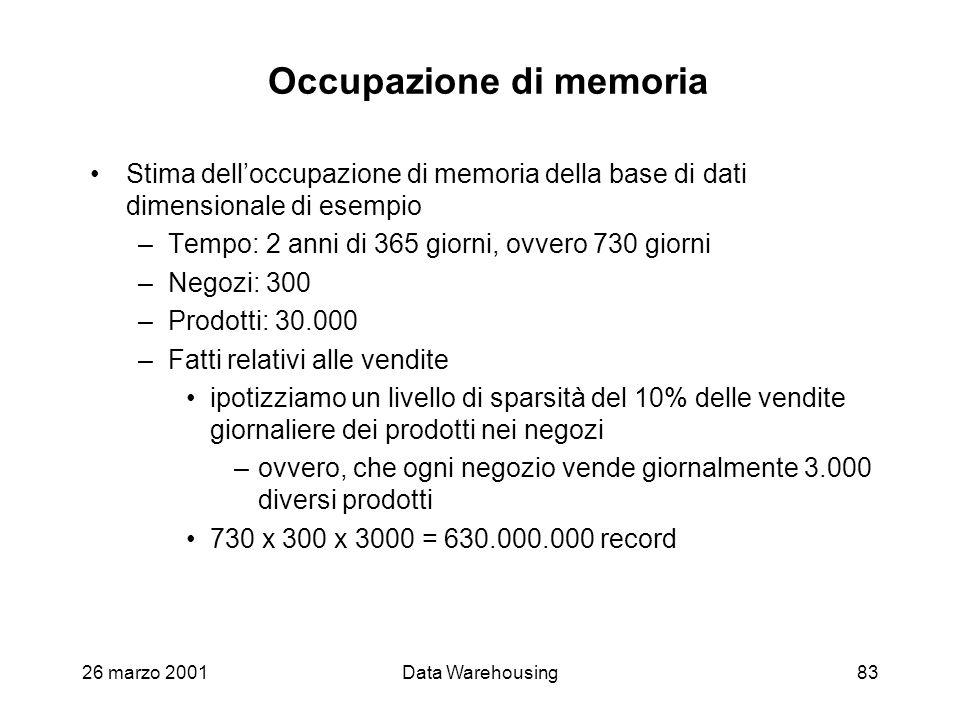 26 marzo 2001Data Warehousing83 Occupazione di memoria Stima delloccupazione di memoria della base di dati dimensionale di esempio –Tempo: 2 anni di 3
