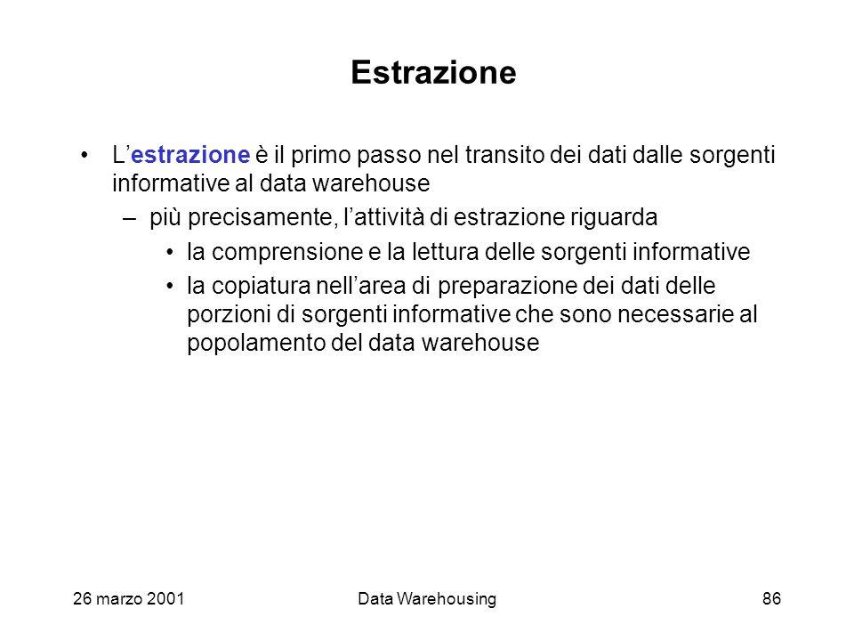 26 marzo 2001Data Warehousing86 Estrazione Lestrazione è il primo passo nel transito dei dati dalle sorgenti informative al data warehouse –più precis